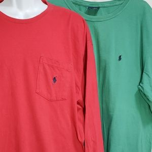 Lot of 2 Size L Polo Ralph Lauren T-shirts LS & SS